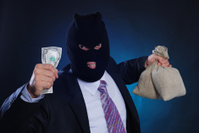 Man with a mask and bags money