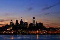 Philadelphia Skyline at Twilight, Wide View