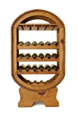 Wine bottles in large freestanding wooden rack on white backgrou