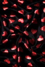 Shiny Red Hearts Black Silk Background