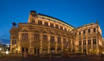 Vienna opera house at dusk.
