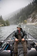 Drift Boat Fisherman in the Snow
