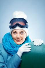 Close-up of beautiful woman Skier