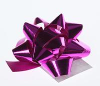Pink metallic gift ribbon bow