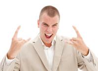 Businessman raving mad