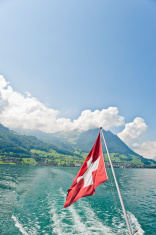 Lake of Lucerne with Swiss Flag