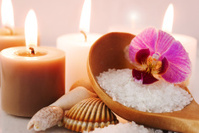 Sea salt with orchid and candles