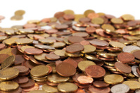 Euro Cent Coins on Budget Definition IN Dictionary Stock