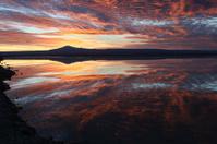 Sunset reflected on Laguna Chaxa in Chile