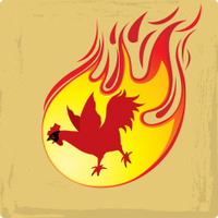 red rooster as a symbol of fire