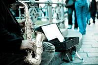 Man play saxophone on the street