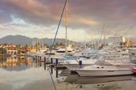 Boats in Marina at Sunset, Horizontal