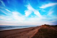 Beautiful empty beach just before sunset