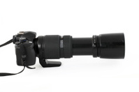 Profile of digital SLR with long telephoto lens