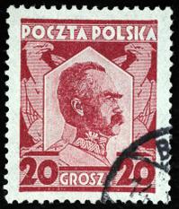 Pilsudski on polish postal stamp