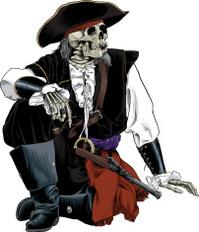 Sitting Pirate Skeleton