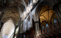 Salisbury Cathedral dramatic angle view of the interiors