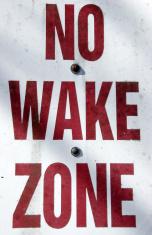 boating sign - no wake zone