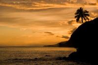 Lalomanu beach in the sunset