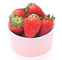 Strawberries in pink ramekin 2
