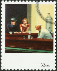 vintage couple at a counter