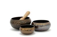 Tibetan singing bowls on white