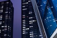 Modern architecture at night, Rotterdam, The Netherlands
