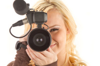 Pretty Blond with Camcorder