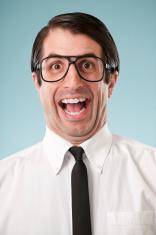 Happy Nerdy Office Worker