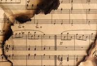 Vintage burnt music notes pattern with cinder