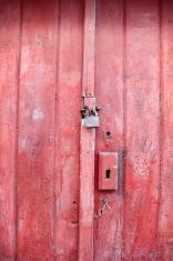 Old Wood Red Door and Padlock