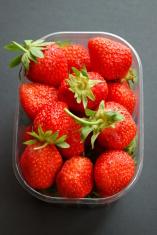 Strawberries in plastic box