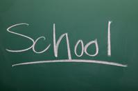 School written on a chalkboard