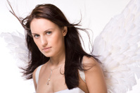 Beautiful woman with angel wings