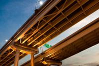 Underneath a suspension bridge