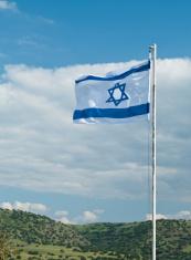 Israeli flag on Golan Heights
