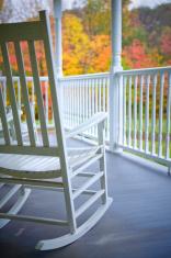 Front porch in Autumn rain