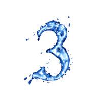 Blue liquid water digit 3