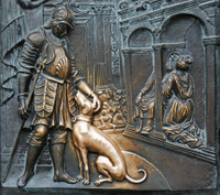 Bronze board on Charles Bridge in Prague