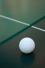 ping pong ball and net.