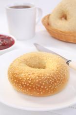 Sesame Bagel Strawberry Jam Breakfast