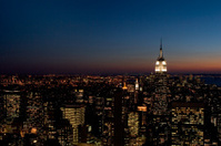 Aerial View of Empire State Building & Lower Manhattan at Twilig