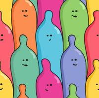 Funny condoms - seamless pattern
