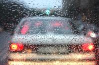 Traffic jam on a rainy evening