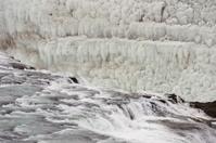 Frozen ice at Gullfoss waterfall, Iceland.