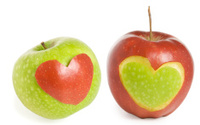 Two apples with heart