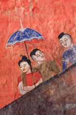 Ancient Thai Buddhist temple mural.