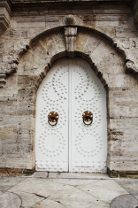 Old Fortress Style Archway Wooden Door