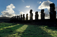 Dawn over Moai at Ahu Tongariki Easter Island
