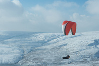 Para Gliding in snowy Colne Valley, West Yorkshire